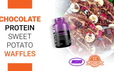 Chocolate Protein Sweet Potato Waffles